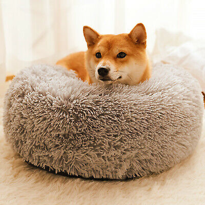 Pet Dog Cat Warm Plush kennel Calming Bed Round Nest Comfy Sleeping Cave Hot NEW