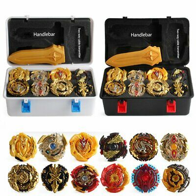12x Portable Box Beyblade Gold Burst Set - Spinning with Grip Launcher Case Toy