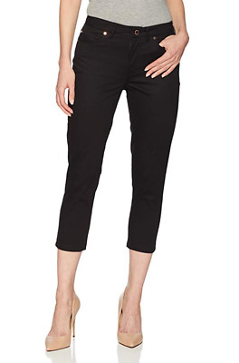 NWT Ivanka Trump Women's Solid Straight Leg Denim Capri Pant Black Size 6