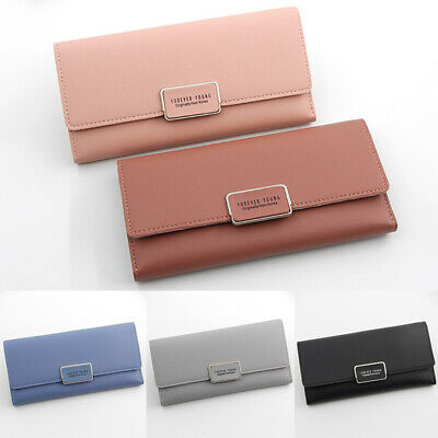 Women Envelope PU Wallet Button Clutch Purse Long Handbag Bag 3 Fold Card Bag