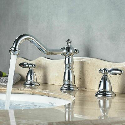 Bathroom Faucet Wall Mounted Dual Handle Bathtub Filler Mixer Tap Brushed Gold