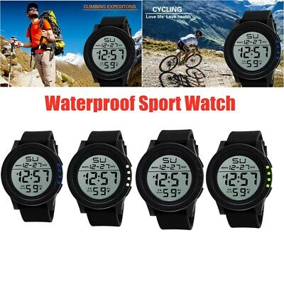 Waterproof Men Military Sports LED Large Face Digital Watch Screen Large Face UK