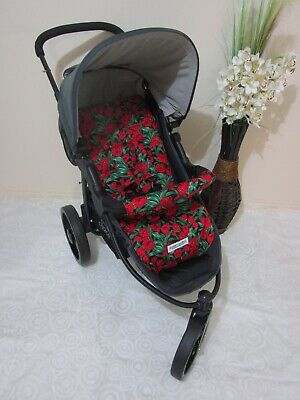 Handmade pram liner set-Red tulips-100% cotton*Funky babyz