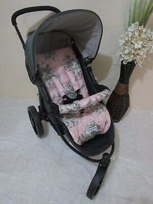 Handmade pram liner set-Watercolour flowers,pink-100% cotton*Funky babyz,SALE*