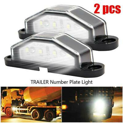 2 x 4 LED LICENSE NUMBER PLATE LIGHT TAIL REAR LAMP CAR TRUCK TRAILER LORRY VAN