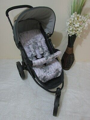 Handmade pram liner set-Watercolour flowers,purple-100% cotton*Funky babyz,SALE*