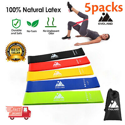 Resistance Bands Set of 5 Exercise Fitness Training Yoga Pilates Gym Latex Loop