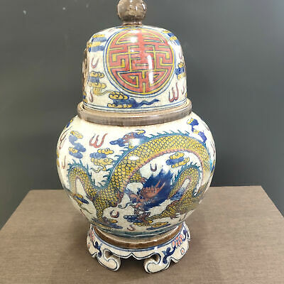 Amazing Large Chinese Dragons Insence Burner Hand-Painting Porcelain With Cover