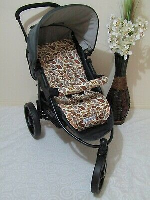 Stroller,pram liner set,universal,100% cotton fabric-Autumn falling leaves