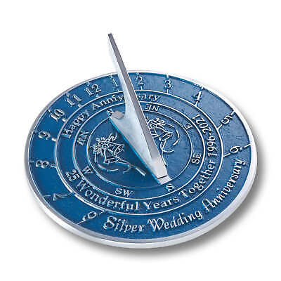 25th Silver 2020 Wedding Anniversary Sundial Gift By The Metal Foundry