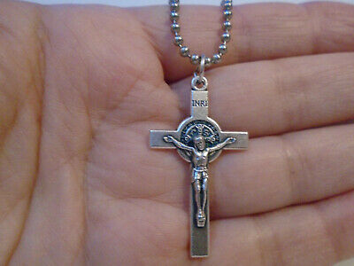 Sterling Silver filled St Benedict Cross Crucifix ITALY Ball Chain Necklace 24""
