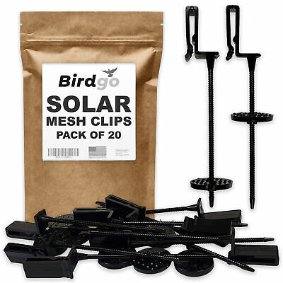 Birdgo Professional Solar Panel Mesh Clips for Pigeon Prevention (Pack of 20)