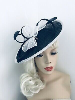 Navy White Fascinator Wedding Saucer Hat Formal Ladies Womens Ascot Hatinator