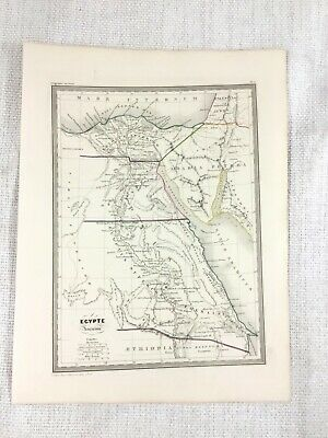 1846 Antique Map of Ancient Egypt Egyptian Egyptology Hand Coloured Engraving
