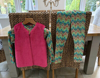 Oilily Girls Zig Zag Leggings, L Sleeve T-Shirt  & Fur Gilet Outfit Green Age 10