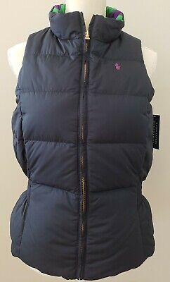 NWT  POLO RALPH LAUREN GIRLS Reversible VEST DOWN NAVY/PURPLE SIZE XL #17