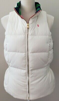 NWT  POLO RALPH LAUREN GIRLS Reversible VEST DOWN WHITE/PINK  SIZE XL #17