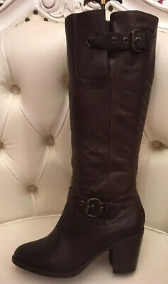 Matalan Ladies Brown Genuine Leather Knee High Boots Size 7 Womens