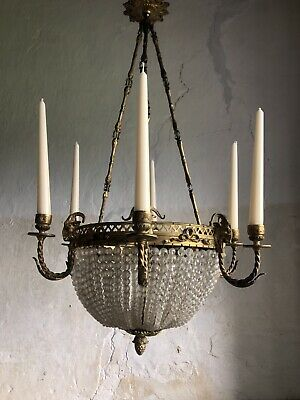 Beautiful Antique French Ormolu / Gilt Bronze Napoleon III Bag Chandelier. c1900