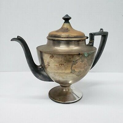 Rare Vintage Sheffield Teapot Silver Plate With Engraved Double Crest