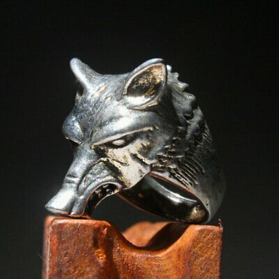 Collectable China Miao Silver Carve Interesting Fox Head Unique Beautiful Ring