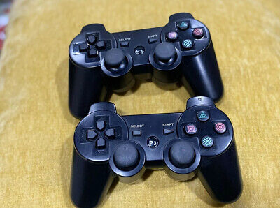 PlayStation 3 PS3 DualShock 3 Wireless SixAxis Controllers Black Lot Of 2