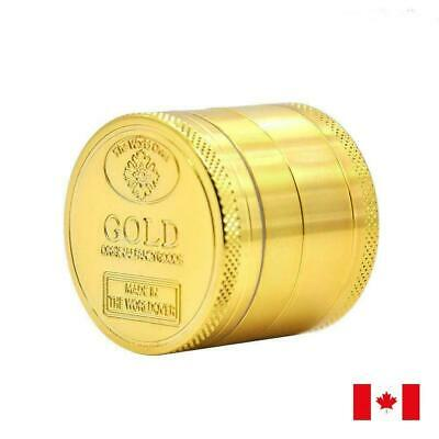 Gold Design Zinc Alloy 4 Layer 40mm Spice Herb Grinder w/ Scraper