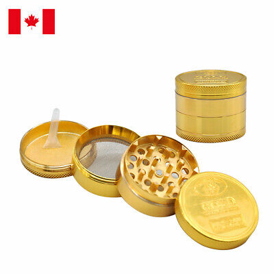 Gold Design Zinc Alloy 4 Layer 50mm Spice Herb Grinder w/ Scraper