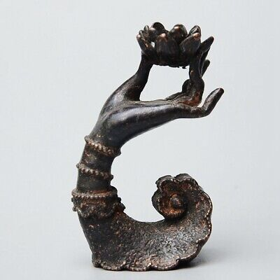 Collectable China Antique Bronze Carve Buddha Hand Lotus Lucky Chic Candlestick