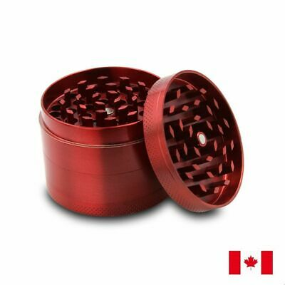 Red Zinc Alloy 4 Layer 50mm Spice Herb Grinder w/ Scraper