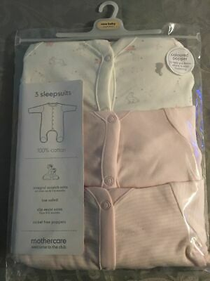 Beautiful Set of 3 Girls Mothercare Sleepsuits Size New Born Months Brand New