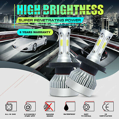 2x H4 9003 1715W 257250LM 3-Sided CREE LED Conversion Headlight Hi/Lo Beam 6000K