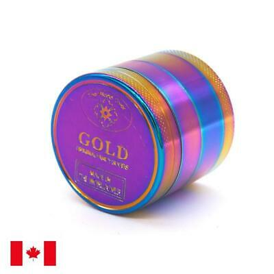 New Rainbow Design Zinc Alloy 4 Layer 40mm Spice Herb Grinder w/ Scraper