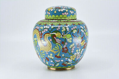 Antique Chinese Export Cloisonne Ginger Jar, 5 inches tall -