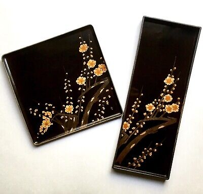 Fine Antique Japanese Lacquer Trays Cherry Blossoms w Silver Late Meiji - Taisho