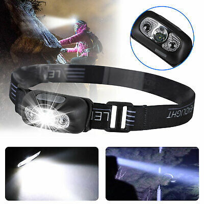 LED Headlamp USB Rechargeable Flashlight Waterproof Head Lamp Torch Camping USA