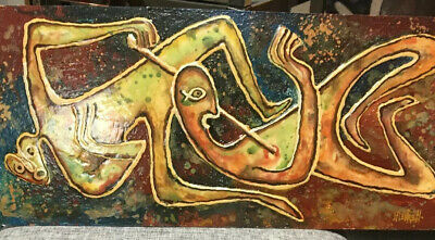 Mid Century Modern Figural Abstract Artwork By M. Mestrell