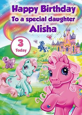 EXTRA LARGE My Little Pony **Personalised A4 Birthday Card** Girl Daughter Niece