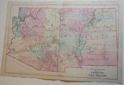 ORIGINL 1880 Mitchell's New General Atlas ARIZONA & NEW MEXICO HAND-COLORED Map