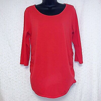 Motherhood Maternity Size Large Coral Red Ruched Pullover Top Shirt 3/4 Sleeves