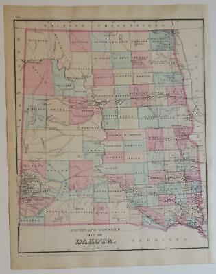ORIGINL 1880 Mitchells New General Atlas COUNTY,TOWNSHIP Map,DAKOTA HAND-COLORD