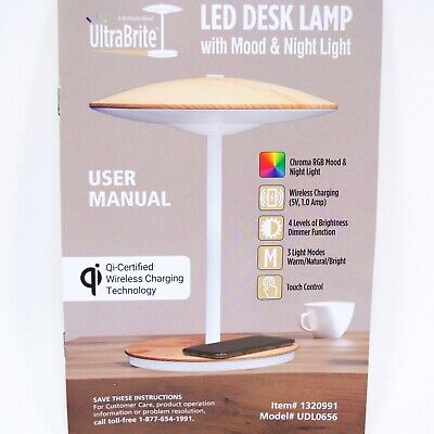 LED Desk Lamp Touch with Mood and Night Light Qi Wireless Charging Dorm Room