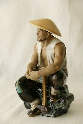 Vintage Chinese Mud Man Worker Shiwan Pottery Figurine 18cm
