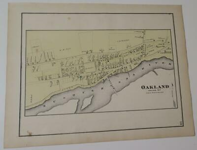1872 Susquehanna County PA MAP,OAKLAND,HAND-COLORED,OWNERS,SUSQ. RIVER,BUSINESS