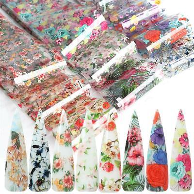 Flower Transfer Holographic Decals Nail Foil Nail Art Stickers Manicure Decor