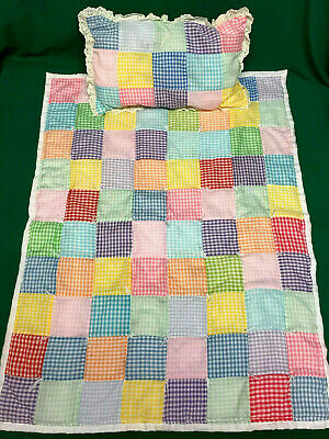 Vintage HANDMADE Patchwork BABY DOLL QUILT w/ PILLOW Pastel GINGHAM Tied BLANKET