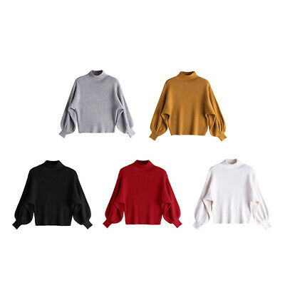 Women's Baggy Pullover Long Sleeve Sweater Turtleneck Jumper Knitted Winter Tops