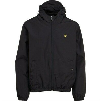 Boys Lyle & Scott Jacket 5-6 Years Black Windcheater Zip Up with Hood Coat BNWT