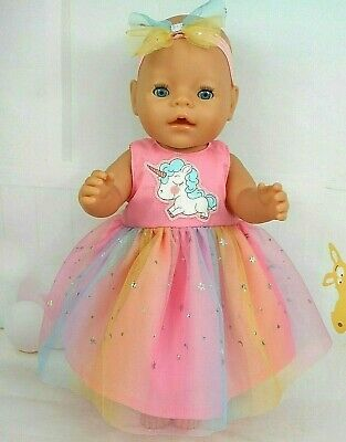 """Dolls clothes for 17"""" BABY BORN~CPK DOLL~UNICORN PASTEL TULLE~SILVER STAR DRESS"""