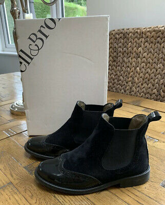 RUSSELL & BROMLEY Kids Girls Black Suede & Patent Chelsea Boots Size EU 33 UK 1